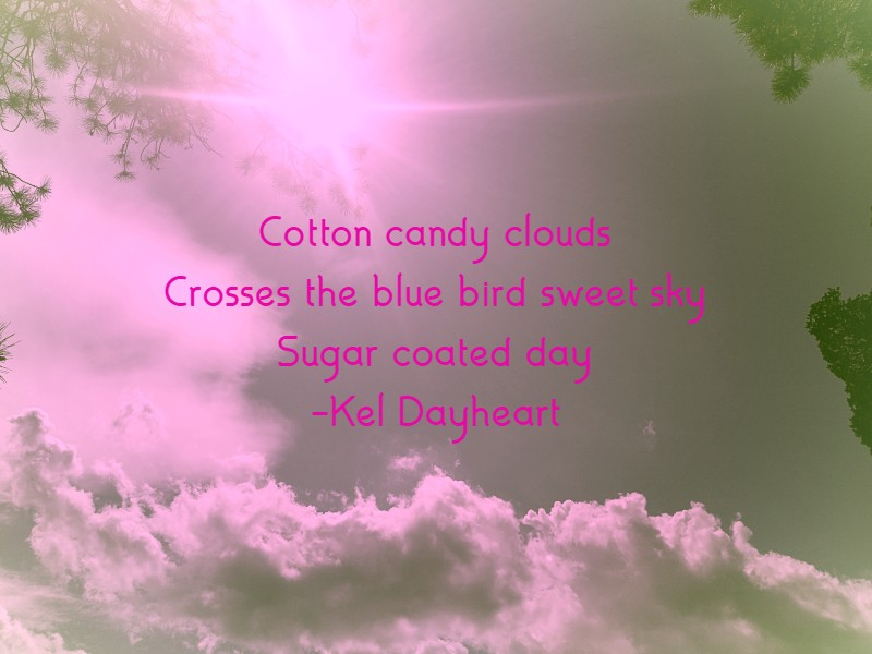 Cotton candy clouds Crosses the blue bird sweet sky Sugar coated day